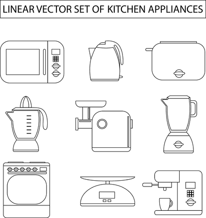 meat  grinder: Set of linear vector kitchen appliances. Microwave, electric kettle, toaster, blender, meat grinder, juicer, oven, scales, coffee machine or espresso machine, maker. For print or web.Shopping cooking Illustration