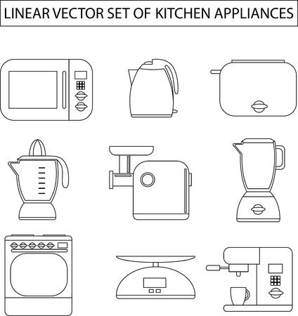 meat  grinder: Set of linear vector kitchen appliances. Microwave, electric kettle, toaster, blender, meat grinder, juicer, oven, scales, coffee machine or espresso machine, maker. For print or web.Shopping cooking Illustration