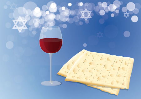 matza: Traditional Matzoh and Wine on a Blue Background