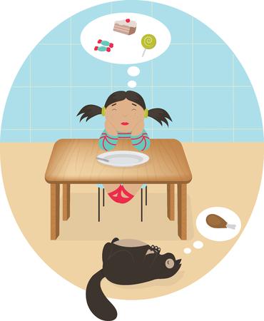Llittle cartoon girl dreaming of cake and sweets Ilustração