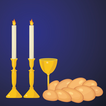 Shabbat candles, kiddush cup and challah. Illustration