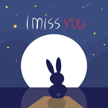 i miss you: I miss you. Rabbit sitting lonely in the moonlight.