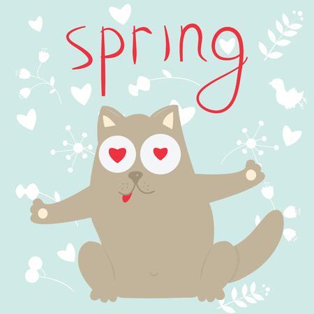 amorousness: In love cartoon cat on a spring. Vector illustration. Illustration