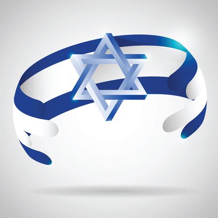 Bandiera di Israele con 3D stella di Davide Vettoriali