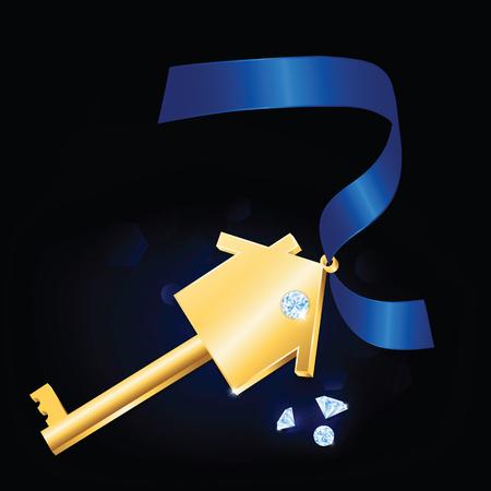 royal house: House key with diamonds and blue ribbon.