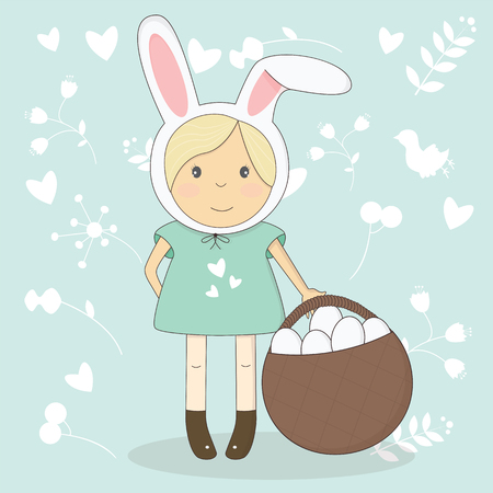 getting: illustration of Easter girl with bunny ears. Easter getting card. Illustration