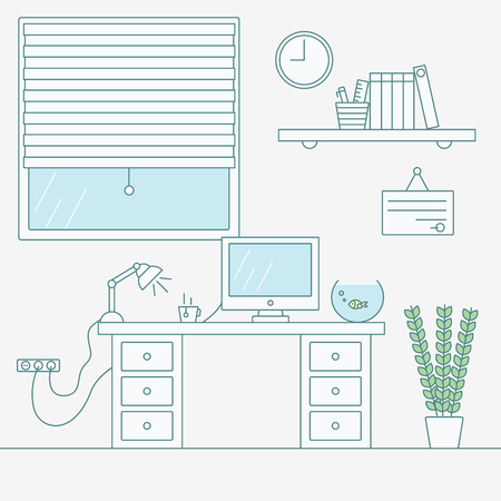 working place: Illustration of working place. Office Interior. line flat design Illustration