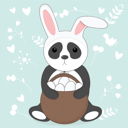 getting: illustration of Easter panda with bunny ears. Easter getting card.