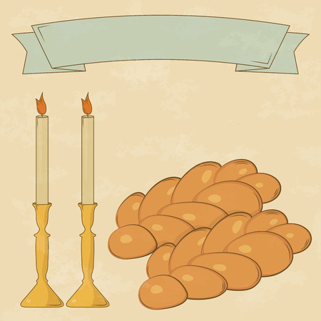 shalom: Shabbat candles, kiddush cup and challah. Vintage style.