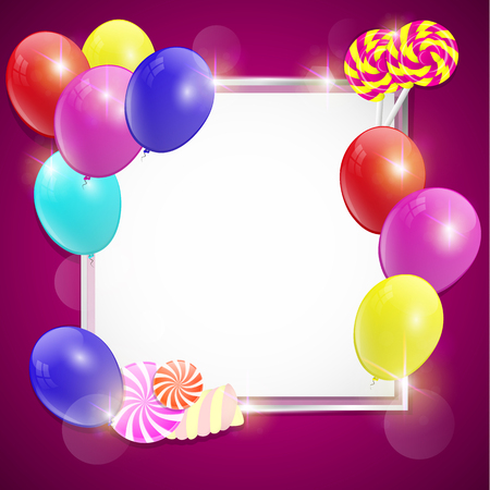 colorful birthday card with balloons and copy space.