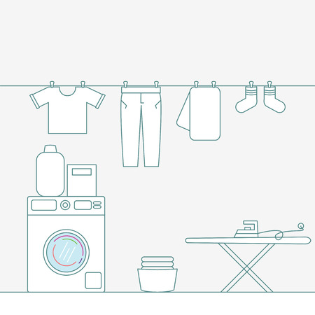 Illustration of laundry room with tools.