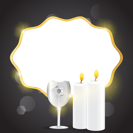 shalom: Illustration of candles and kiddush cup with copy space.