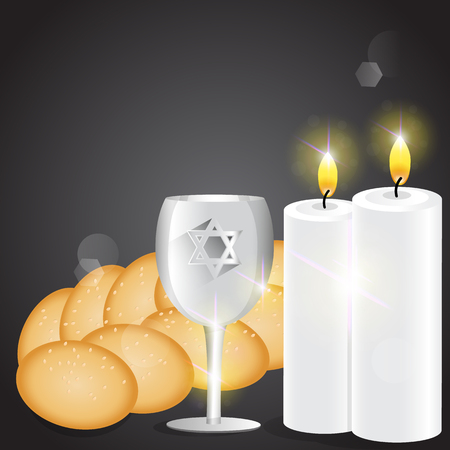 challah: Illustration of candles and kiddush cup with challah.