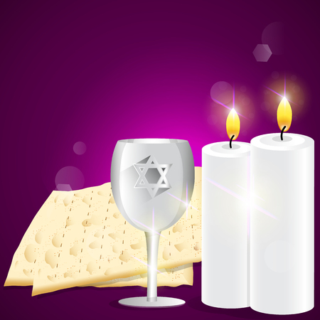 Illustration of candles and kiddush cup with matzot. Illustration