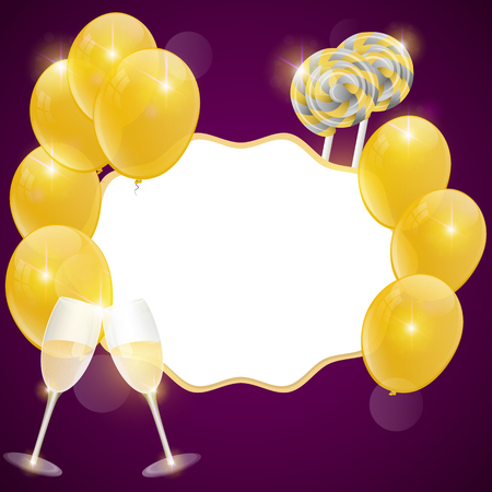 festiva: birthday card with champagne glasses and gold balloons. Illustration