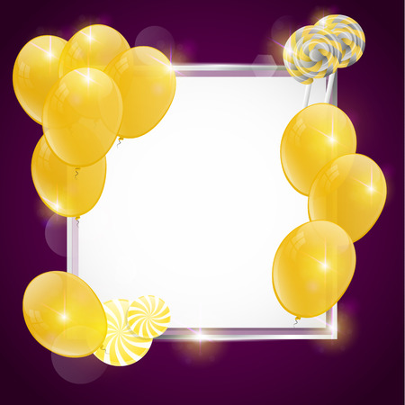 festiva: colorful birthday card with gold balloons and gold candies.