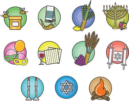 matzo: Jewish Colorful Icons Illustration