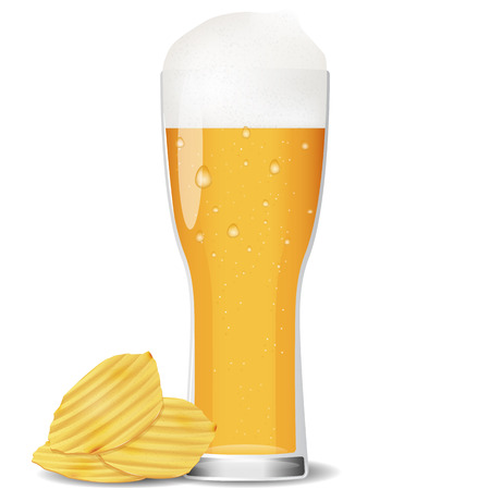 potato chips: Illustration of glass cold beer with potato chips.