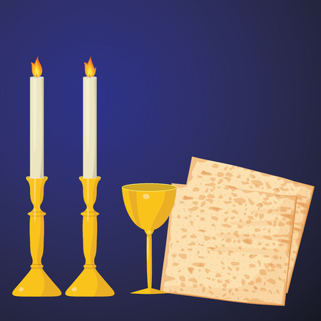 matza: Matzoh and Wine on a Blue Background.Jewish passover holiday.
