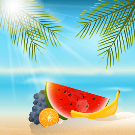 hot summer: Summer background with fruits.Orange,banana,grapes and watermelon. Illustration