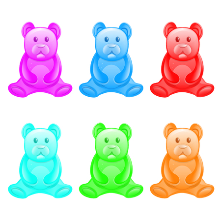 Different color jelly bears on a white background.