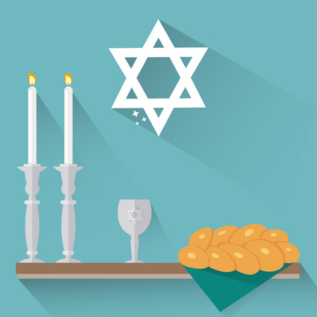 Shabbat candles, kiddush cup and challah in flat style. 向量圖像