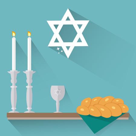 shabat: velas de Shabat, copa de Kidush y la jalá en estilo plano. Vectores