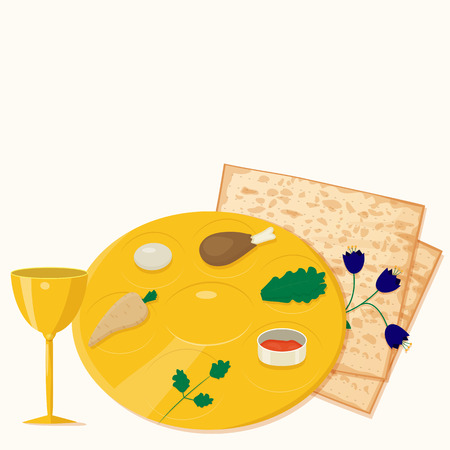 seder: Illustration of passover seder plate with matzoh and wine. Illustration