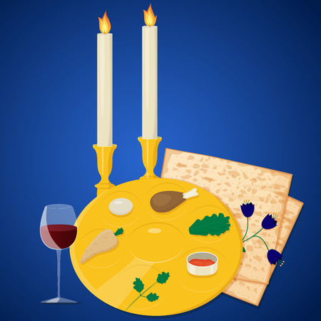seder: Illustration of passover seder plate with matzoh and wine on blue background.