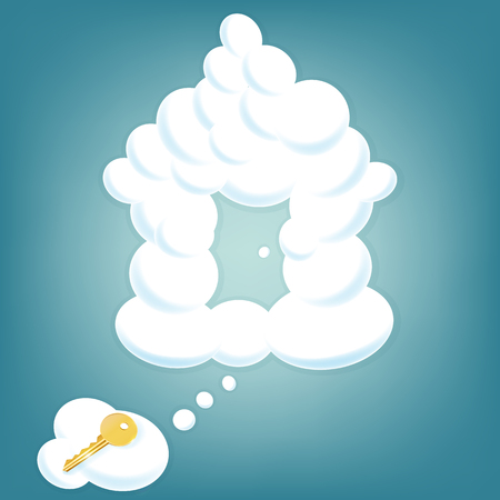 daydreaming: House from clouds in sky with gold key lying on a cloud. Real estate background.