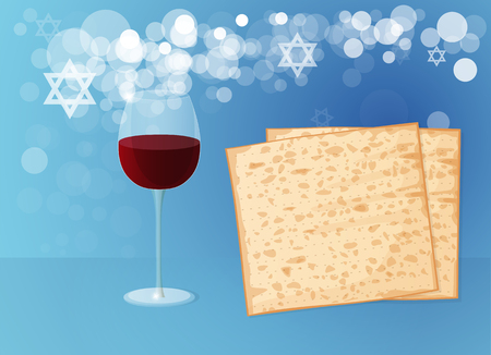Jewish passover holiday. Matzoh and Wine on a Blue Background.
