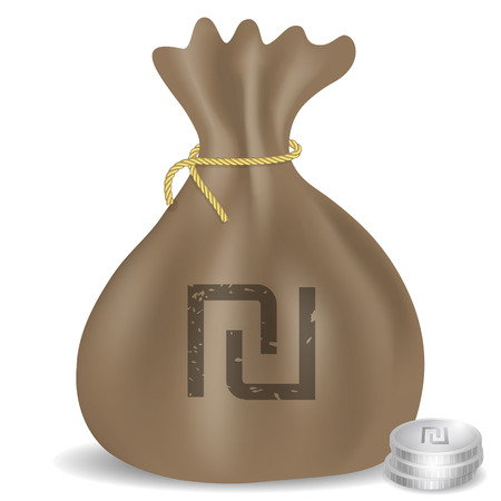 israeli: Money bag icon with Israeli Shekel symbol and coins.