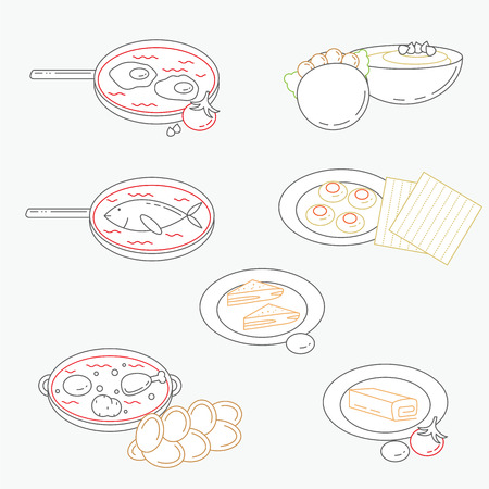 israeli: Illustration of line Israeli culture food icons with flat design.