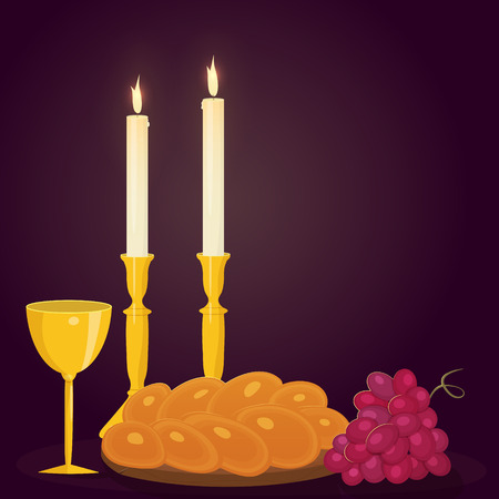 Illustration of Shabbat candles, kiddush cup and challah.