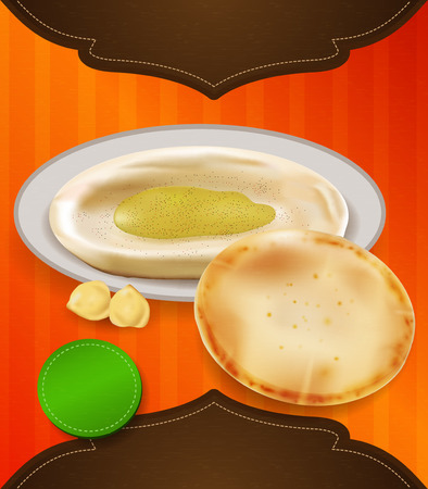 pita bread: Pita and hummus template. Illustration