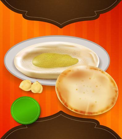 humus: Pita and hummus template. Illustration