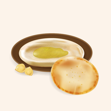 appetizers: Illustration of hummus with pita bread isolated.