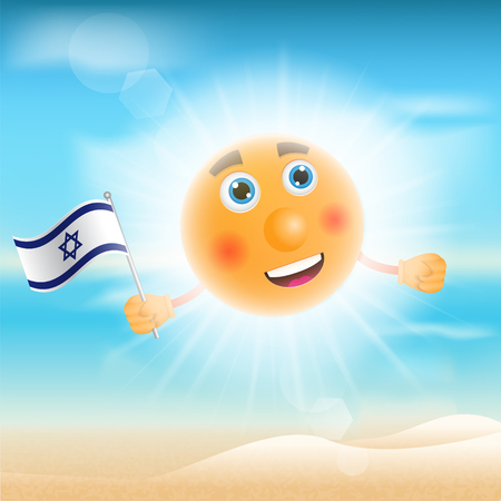 israeli: Illustration of a sun holding an Israeli flag in front of the beach