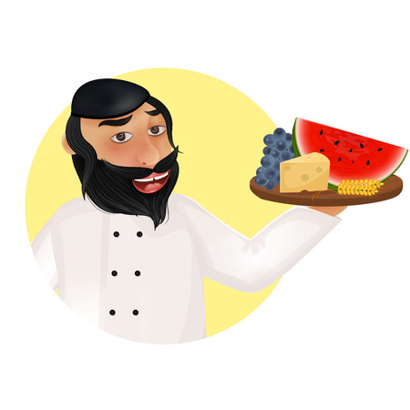 plural: Jewish holiday of Shavuot illustration. Jewish religion chef holding fruits, cheese and wheat ears.