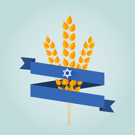 jewish holiday: Jewish holiday shavuot banner with wheat ear. Illustration
