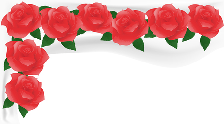 chuppah: Red roses on white fabric. Flower background.