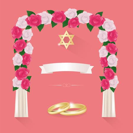 chuppah: Jewish wedding elements for invitation design.