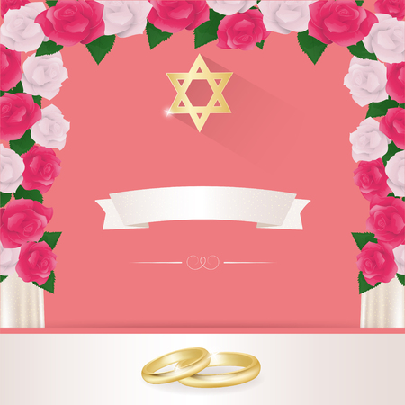 chuppah: Jewish wedding elements for invitation design under the chuppah.