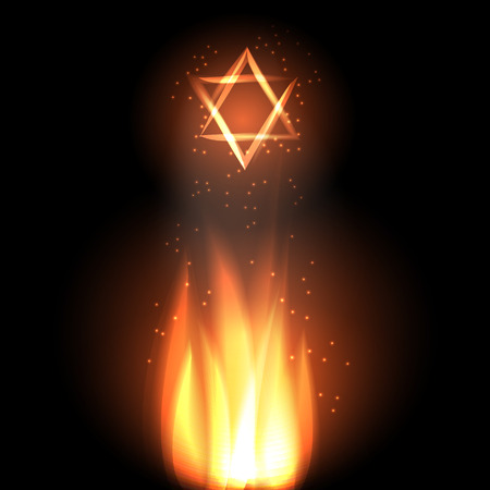 lag: Jewish holiday of Lag Baomer illustration with fire and star of david. Illustration