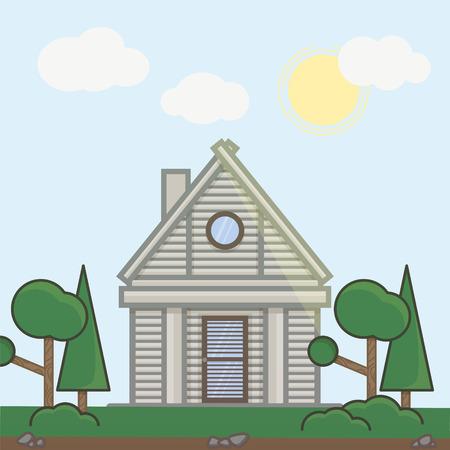 holiday villa: Illustration of summer house in flat line design.
