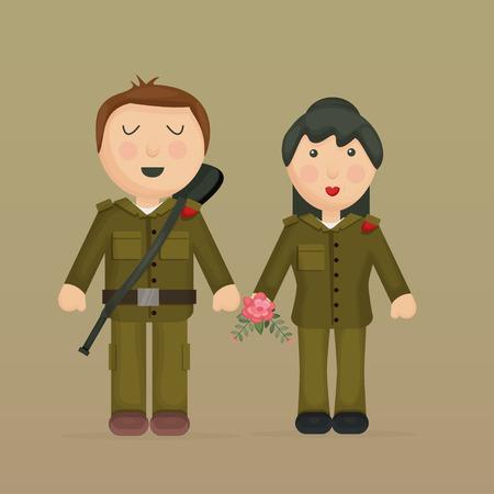 Cartoon illustration of soldiers.