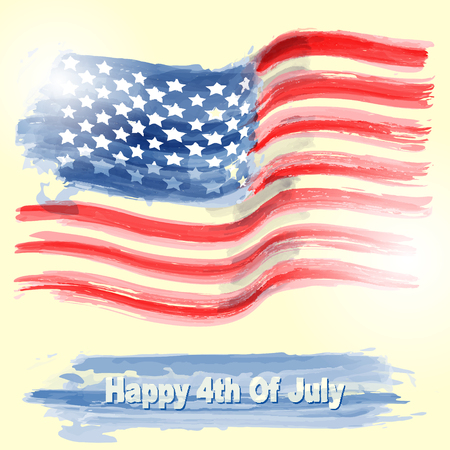 national women of color day: Illustration of American flag with Happy 4th of july.