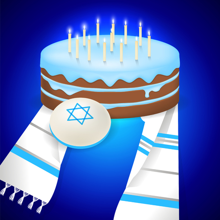congregation: Jewish bar mitzvah  illustration with kipa, tallit and cake with 13 candles.