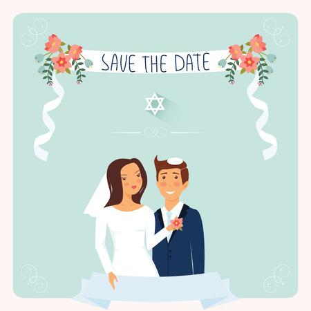 kippah: Wedding invitation template. Cute Jewish couple under chuppah.