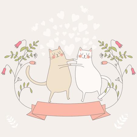 Illustratie van twee katten in liefde met bloemen en de tekst ik hou van je. Vector Illustratie